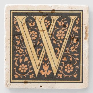 Vintage Black & Gold Letter 'W' Stone Coaster