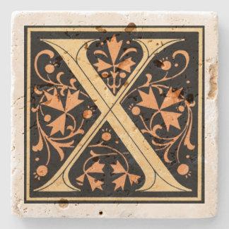 Vintage Black & Gold Letter 'X' Stone Beverage Coaster