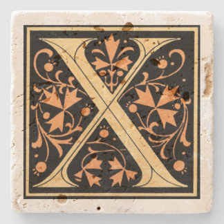 Vintage Black & Gold Letter 'X' Stone Coaster
