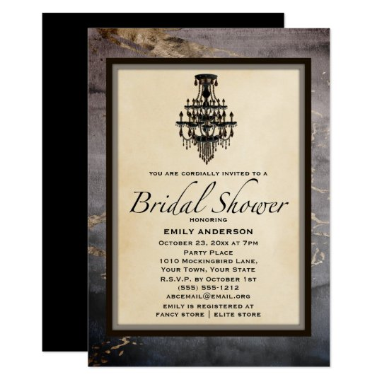 Vintage Black Gold Marble Chandelier Bridal Shower Card
