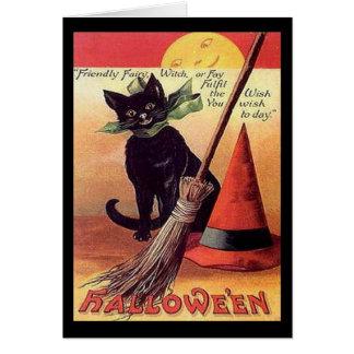 Vintage Black Halloween Cat Greeting Card