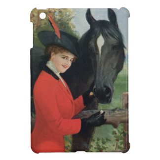 Vintage Black Horse Girl Red Coat Equestrian Cover For The iPad Mini