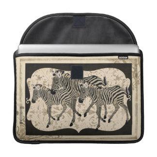Vintage Black & Ivory Zebra  Macbook Sleeve Sleeves For MacBooks