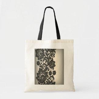Vintage black Lace beige Paris Fashion Canvas Bags