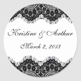 Vintage Black Lace on White Sticker