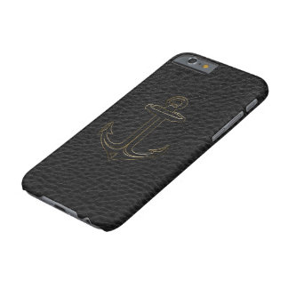 Vintage Black Leather, Nautical Anchor Gold Accent Barely There iPhone 6 Case