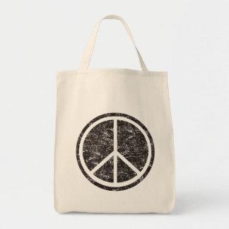 Vintage Black Peace Sign Tote Bag