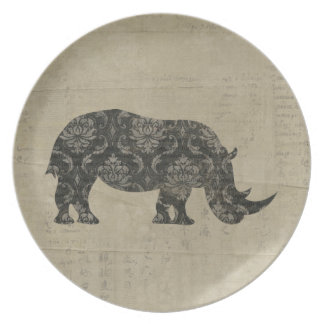 Vintage Black Rhino Silhouette Plate