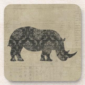 Vintage Black Rhinoceroses Coaster