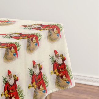 Vintage Black Santa Tablecloth
