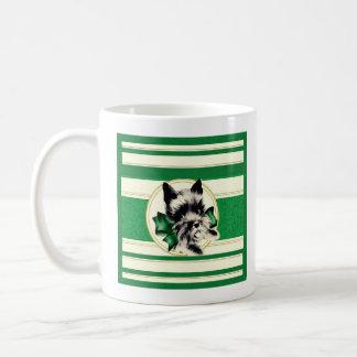 Vintage Black Scottish Terrier on green mug