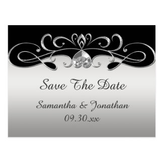 Vintage Black Silver Ornate Swirls Save The Date Postcard