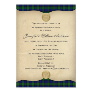 Vintage Black Watch Tartan Plaid Anniversary Party Card