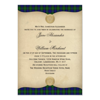 Vintage Black Watch Tartan Plaid Wedding Invites