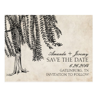 Vintage Black Weeping Willow Save The Date Postcard