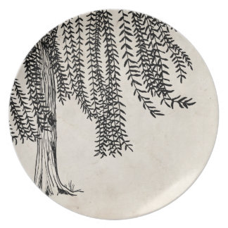 Vintage Black Weeping Willow Tree Plate