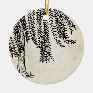 Vintage Black Weeping Willow Tree Round Ceramic Decoration