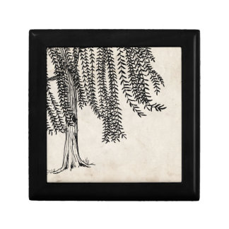 Vintage Black Weeping Willow Tree Small Square Gift Box