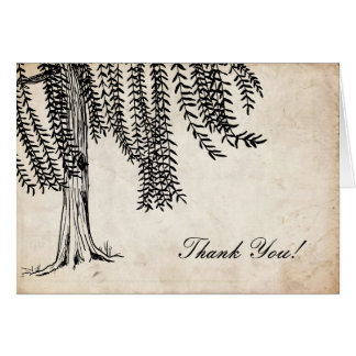 Vintage Black Weeping Willow Tree Thank You Greeting Card