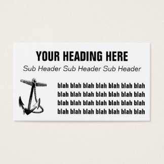 Vintage Black & White Boat Anchor and Rope Business Card