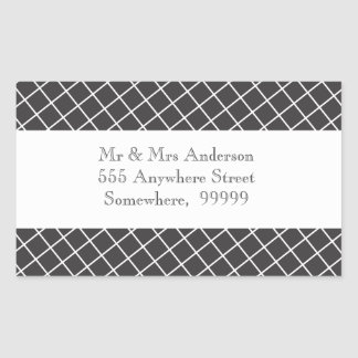 Vintage Black & White Cross Hatch Address Stickers