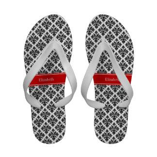 Vintage Black White Damask 3 Red Name Monogram Sandals
