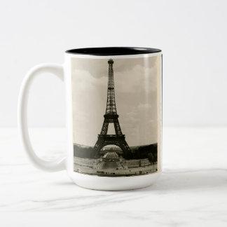 Vintage Black & White Eiffel Tower Two-Tone Coffee Mug