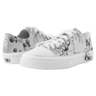 Vintage Black & White Floral Etching Low Tops