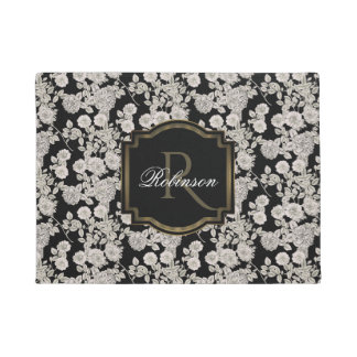 Vintage Black | White Floral Monogram Doormat