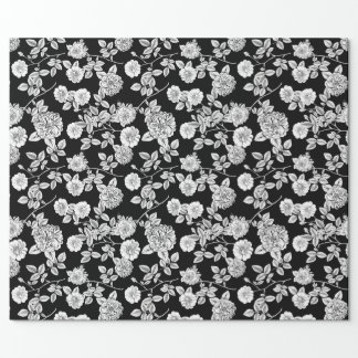 Vintage Black | White Florals DIY Background Wrapping Paper