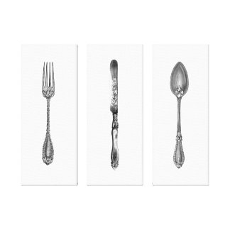 Vintage Black & White Fork Knife Spoon Kitchen Art Canvas Print