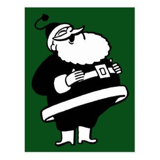 Vintage Black & White Laughing Santa On Green Postcard