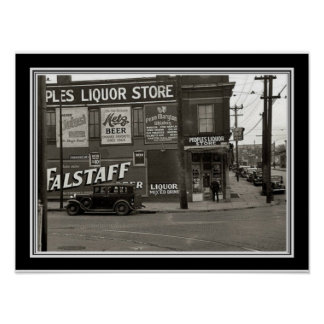 Vintage  Black & White Liquor Store Photo 12 x 16 Poster