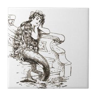 Vintage Black White Mermaid Drawing Ceramic Tile