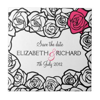 "Vintage black white pink roses ""Save the date"" Tile"
