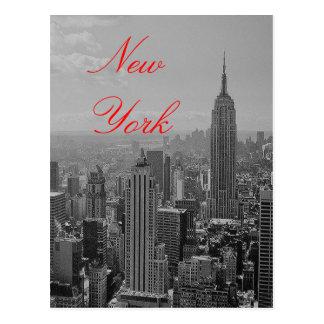 Vintage Black White Red Script New York Postcard