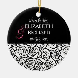 Vintage black white rose 'Save the date'  Ornament