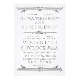 Vintage Black & White Typography Wedding Invite