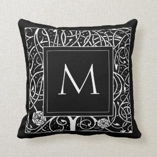 Vintage Black with White Vine Monogram Throw Pillow