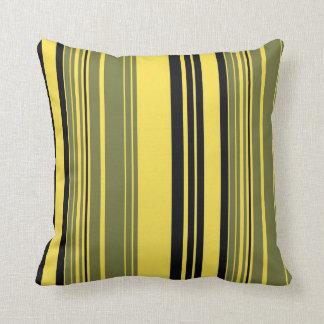 Vintage Black Yellow Grey Stripes Pattern Pillow Cushions