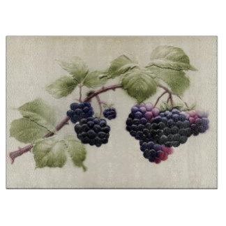 Vintage Blackberries and Leaves Postcard Art Cutting Board