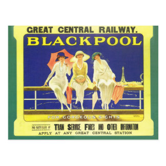 Vintage, Blackpool, England, Railway poster Postcard