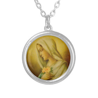 Vintage Blessed Virgin Mary Silver Plated Necklace