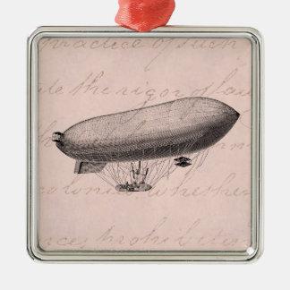 Vintage Blimp Old Zeppelin Retro Hot Air Balloon Metal Ornament