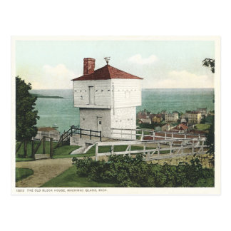 Vintage Block House Mackinac Island Michigan Postcard