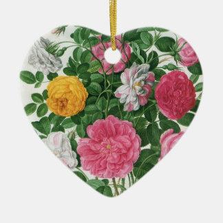 Vintage Blooming Flowers, Spring Garden Roses Christmas Tree Ornaments