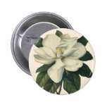 Vintage Blooming White Magnolia Blossom Flowers 6 Cm Round Badge
