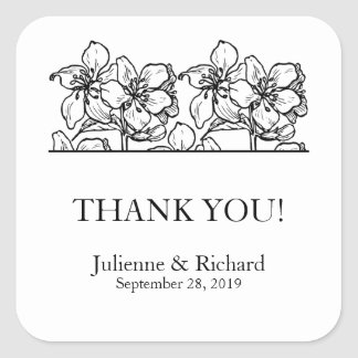 Vintage Blossoms | Black and White Wedding Favor Square Sticker