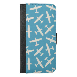 Vintage Blue Aircraft Pattern Phone Wallet