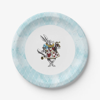 Vintage Blue Alice in Wonderland Rabbit 7 Inch Paper Plate